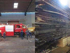 Công nhân nhà máy thép tháo chạy khi kho chứa hàng bốc cháy