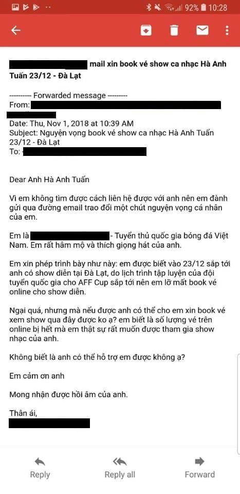 Tuyển thủ Việt Nam viết mail xin mua vé dự liveshow Hà Anh Tuấn-1
