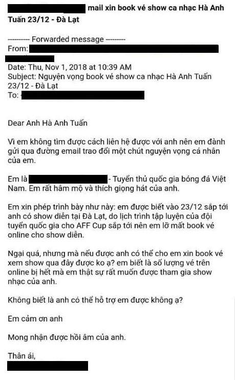 Dân mạng tìm kiếm cầu thủ gửi tâm thư xin mua vé cho Hà Anh Tuấn-1