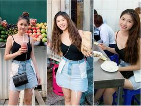 Mặc váy trái mà hồn nhiên tung tăng ra phố, bà xã Đăng Khôi khiến dân mạng sửng sốt với style ngược đời