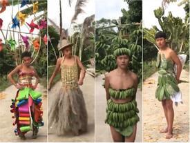 H'Hen Niê không cần lấy ý tưởng trang phục truyền thống ở đâu xa khi ngay tại đây đã có 10 thiết kế 'cây nhà lá vườn' cực chất