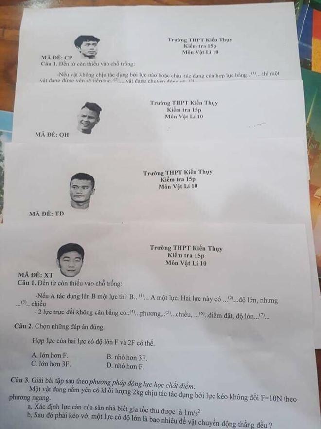 Thầy giáo Hải Phòng dùng tên Quang Hải, Tiến Dũng làm mã đề thi Vật lý-1