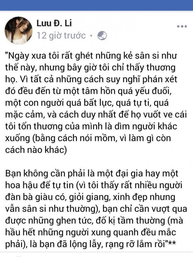 Bị bóc mẽ giật chồng người, Lưu Đê Li mạnh miệng: Tôi là người sống thật. Đàn bà giàu có vẫn sân si như thường đấy thôi-2