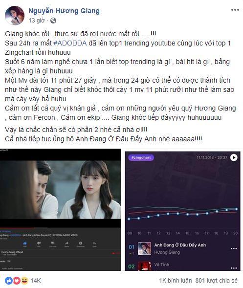 Hương Giang khóc ngất vì MV thắng lớn: 6 năm chưa biết #1 Trending là gì!-3