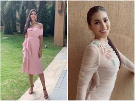 Liên tiếp diện đầm hồng 'phong thủy', Tiểu Vy được khen khôn ngoan khi chinh chiến Miss World 2018