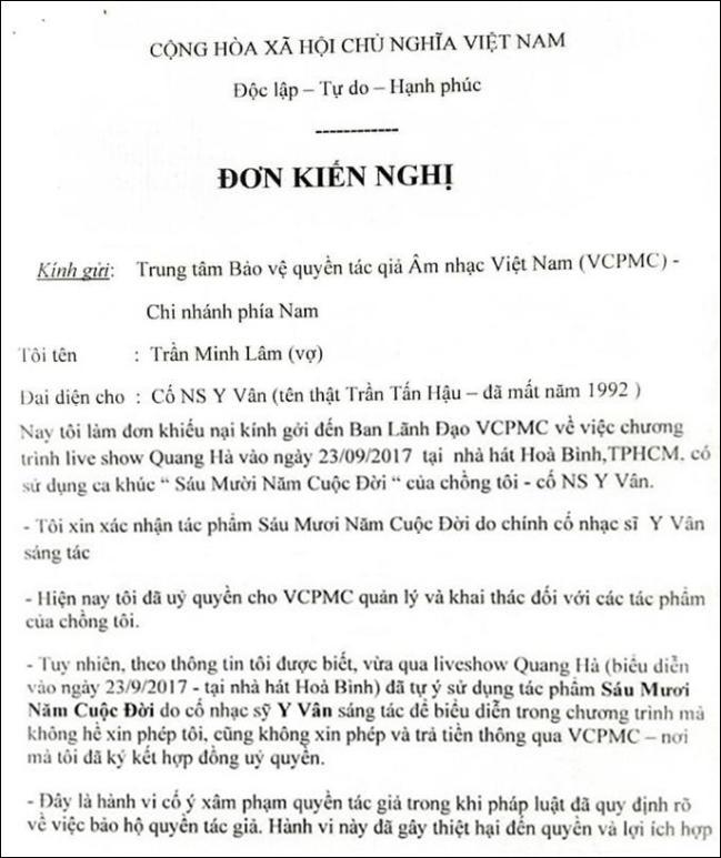 Quang Hà bị vợ cố nhạc sĩ Y Vân và nhiều người khiếu kiện vi phạm tác quyền-3