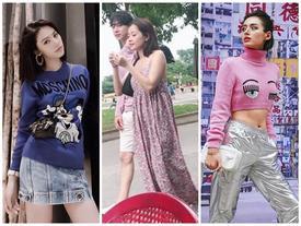 Mặc chị em đón đầu xu hướng với áo sweater đa sắc màu, Chi Pu mát mẻ diện váy rộng thùng thình như bà bầu