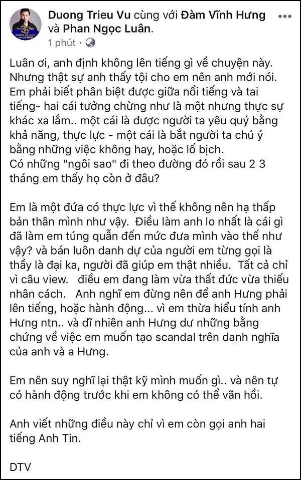 Dương Triệu Vũ dằn mặt Phan Ngọc Luân: Đừng để anh Hưng phải lên tiếng hay hành động-4