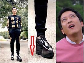 Ai chẳng biết Trấn Thành nghiện giày độn đế, nhưng vác đôi cà kheo 15cm dưới chân thế này thì quá đáng sợ rồi!