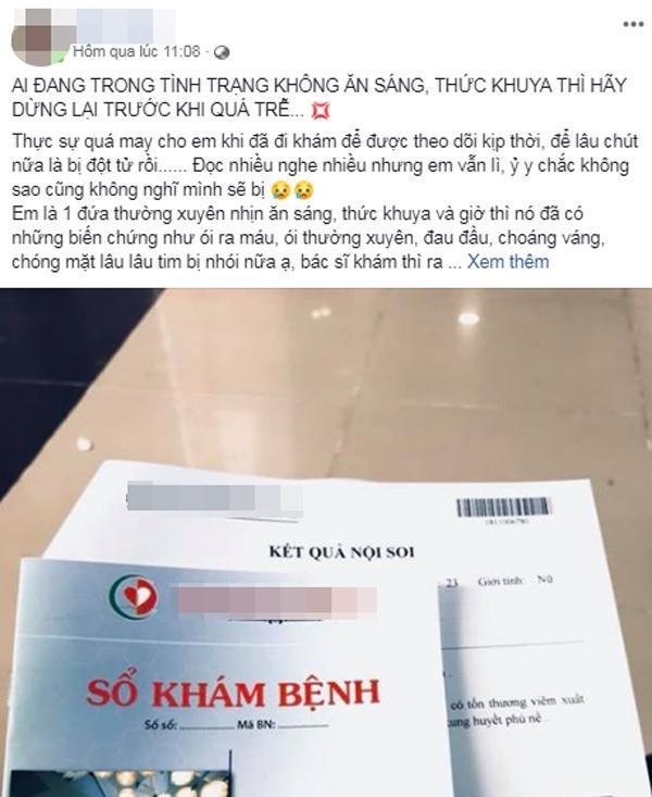 Mắc đống bệnh, ói ra máu, cô gái Hà Nội khuyên bỏ 2 thói quen sáng tối này trước khi quá muộn-1
