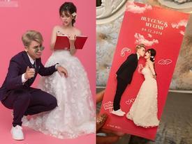 Lộ thiệp mời cưới chất hơn nước cất của vlogger Huy Cung và cô dâu hotgirl