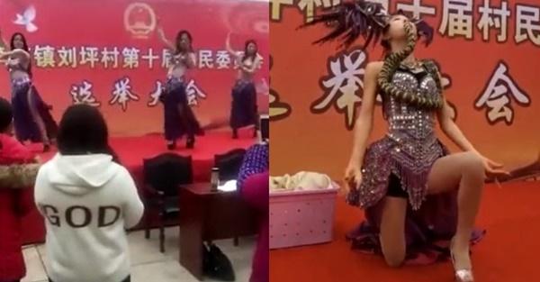 Ngôi làng Trung Quốc gây sốc khi thuê vũ công múa bụng, múa rắn phục vụ bầu cử-1