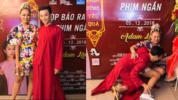 Mai Ngô té 'sấp mặt' vì tạo dáng chụp ảnh khi đến chúc mừng Adam Lâm ra mắt MV cổ trang