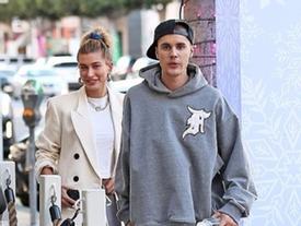 Vợ chồng Justin Bieber - Hailey Baldwin mặc quần đôi đi ăn trưa ở Mỹ