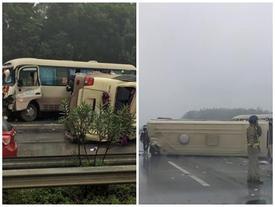 Xe khách lật nhào trên cao tốc Nội Bài - Lào Cai