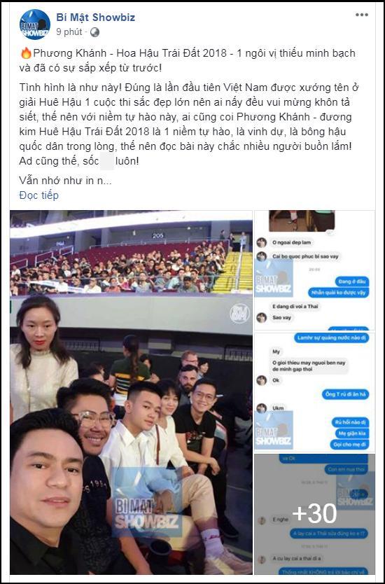 SHOCK: Lộ tin nhắn Hoa hậu Trái đất 2018 Phương Khánh chưa thi đã nắm chắc vương miện nhờ núi tiền đi trước-1