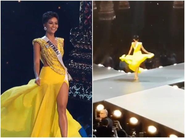 Ơn giời, fancam quay trọn vẹn màn tung váy xuất thần của HHen Niê tại Miss Universe 2018 đây rồi-4