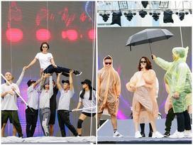 Bất chấp sân khấu trơn trượt, Thu Minh, Bảo Anh, Bích Phương vẫn tập chương trình với vũ đạo khó nhằn