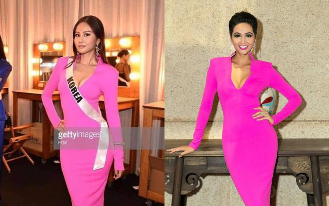 Thân thiết như Hoa hậu Hàn Quốc và HHen Niê ở Miss Universe: cùng phòng, dép tổ ong đôi và mặc chung váy?-6