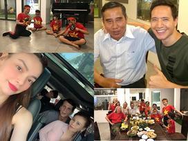 Kim Lý cùng gia đình Hồ Ngọc Hà ăn mừng đội tuyển Việt Nam vô địch trong biệt thự triệu đô