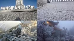 Đỉnh Fansipan đẹp ngỡ ngàng giữa trời tuyết trắng