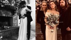 Ngắm nghía chiếc váy cưới chất liệu satin rất đỗi giản dị và thướt tha của Miley Cyrus