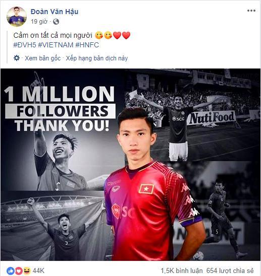 Đoàn Văn Hậu chính thức bước vào câu lạc bộ triệu like của dàn sao ĐTVN-1