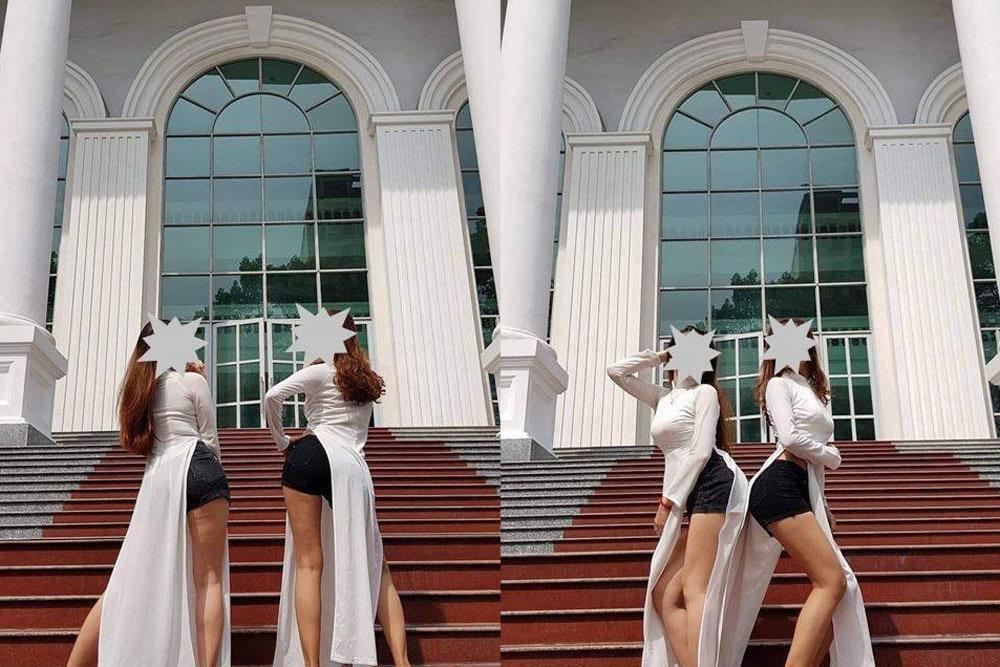 Mặc áo dài với quần đùi, hai cô gái bị chỉ trích mạnh mẽ-1