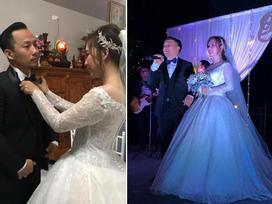 Tiến Đạt diện vest cực bảnh, được cô dâu Thụy Vy chăm chút tình tứ hết nấc trong lễ thành hôn