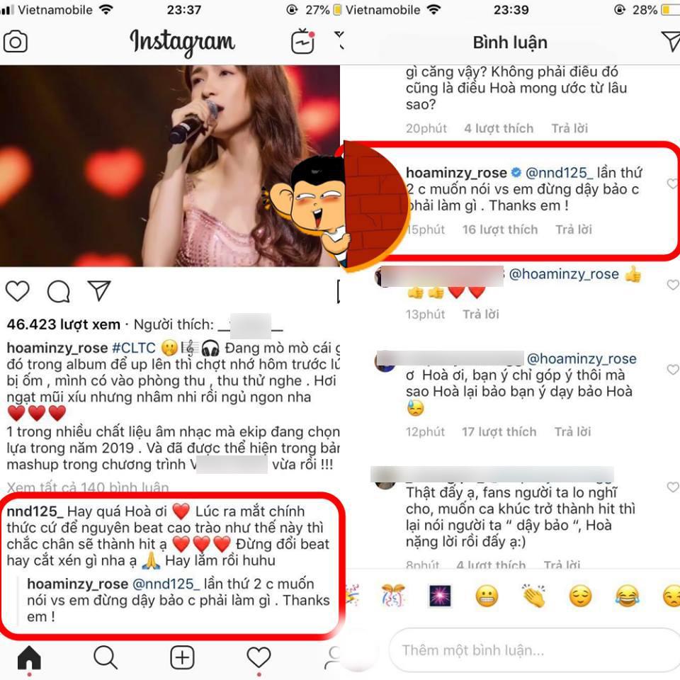 Fan cố gắng góp ý thiện chí, Hòa Minzy lại gây bão khi đáp trả gay gắt: Đừng dạy bảo chị-2