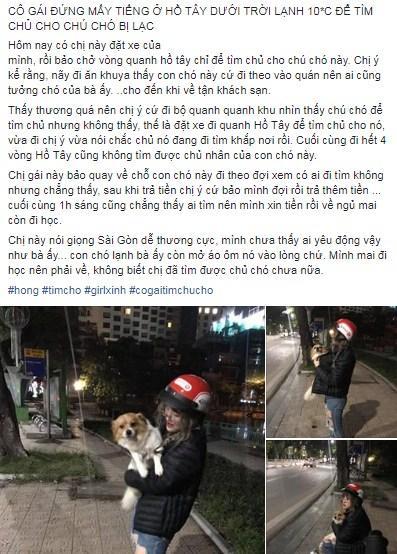 Ngoại hình đẹp chuẩn hotgirl của cô gái tìm chủ cho chú chó bị lạc giữa đêm lạnh khiến cầu thủ U23 sốt sắng xin info-1