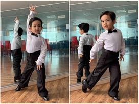 Lần đầu diện trang phục khiêu vũ, quý tử 3 tuổi nhà Khánh Thi khoe những bước nhảy chuẩn 'con nhà nòi'