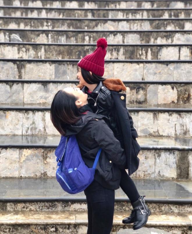 Ngọc Diễm đưa con gái lên đỉnh Fansipan lúc âm 4 độ C-2