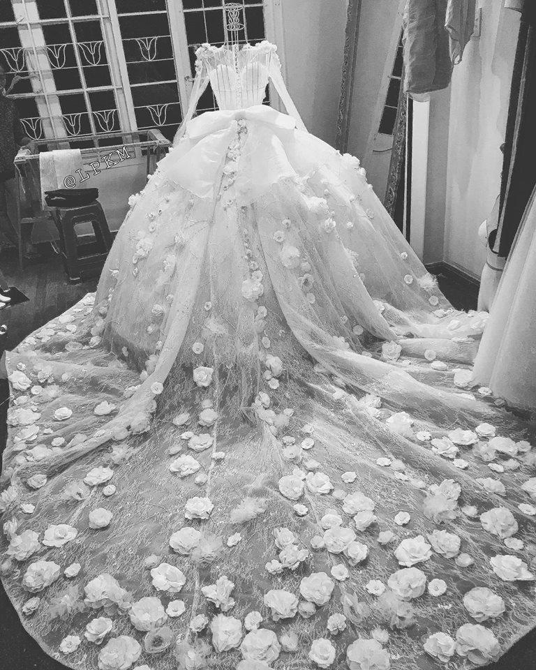 Vân Navy háo hức chia sẻ điều thú vị về váy cưới hoành tráng trước giờ lên xe hoa-2