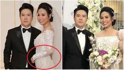 Bà xã Lê Hiếu vướng nghi án bầu bí khi để lộ vòng 2 nhô cao trong tiệc cưới hạng sang