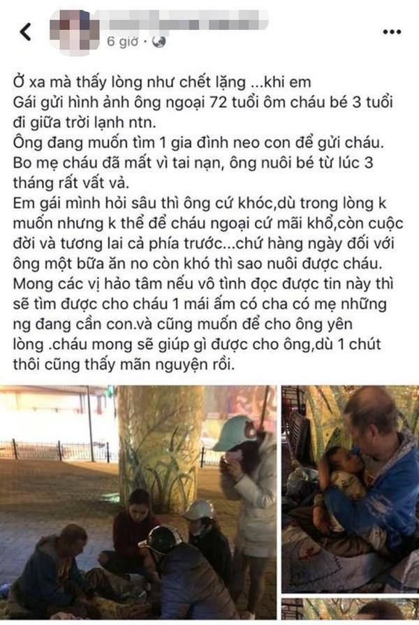 Sự thật chuyện cụ ông hơn 70 tuổi ôm bé trai 3 tuổi có bố mẹ mất vì tai nạn giao thông trong đêm rét ở Hà Nội-1