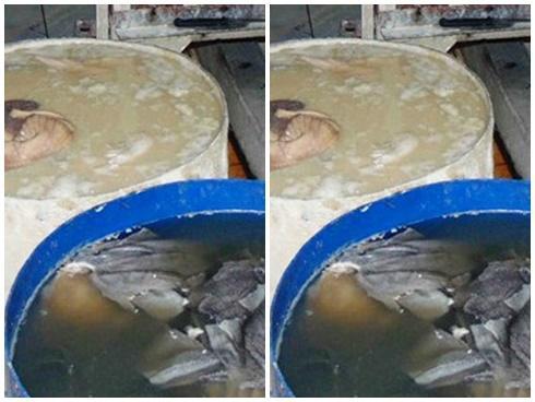 Nội tạng bò được làm trắng bằng vôi trước khi đem bán ở Sài Gòn