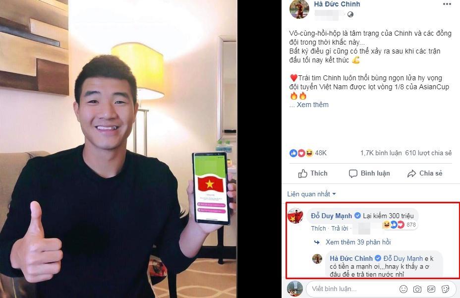 Duy Mạnh buột miệng tiết lộ thu nhập khủng Đức Chinh kiếm được sau mỗi status trên Facebook-1