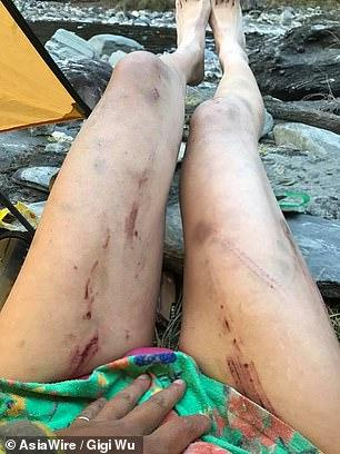 Cô gái Đài Loan nổi tiếng mặc bikini leo núi bị chết cóng-3