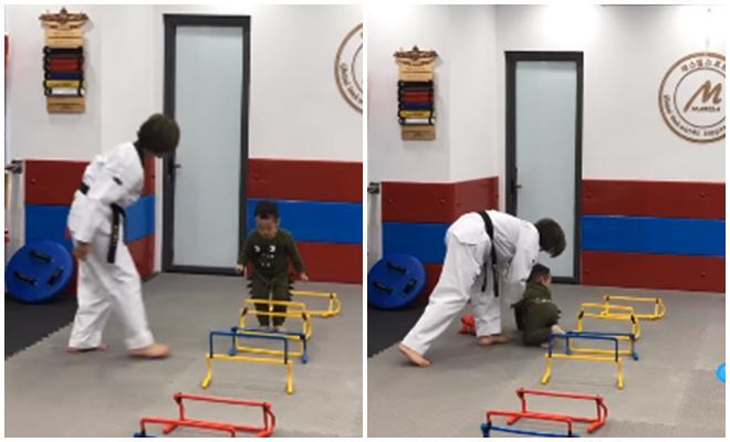 Tập võ nhưng lại liên tục ngã, con trai 3 tuổi của Ly Kute được khen ngợi có ngã vẫn thấy đáng yêu-1