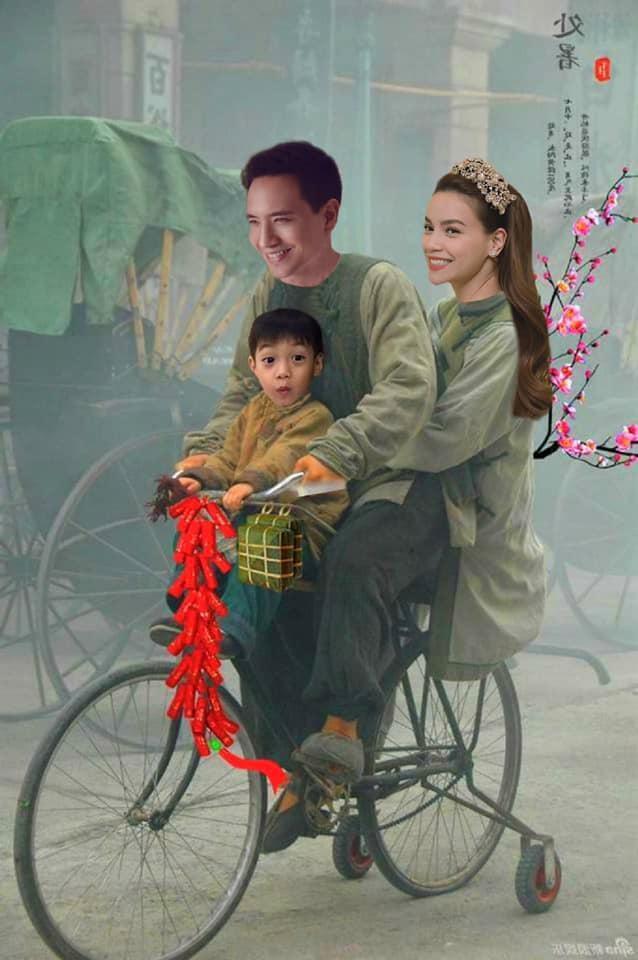 ẢNH CHẾ SỐT XÌNH XỊCH: Kim Lý kẹp 3 bằng xe đạp đưa Hồ Ngọc Hà và Subeo đi chợ sắm Tết-1