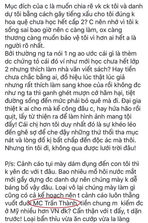 Giữa scandal đấu tố với hoa hậu Thu Hoài, Vy Oanh gây sốc khi gọi thẳng Trấn Thành là thằng vuốt đuôi-3