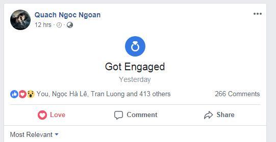 Diễn viên Quách Ngọc Ngoan tuyên bố đã đính hôn với doanh nhân Phượng Chanel