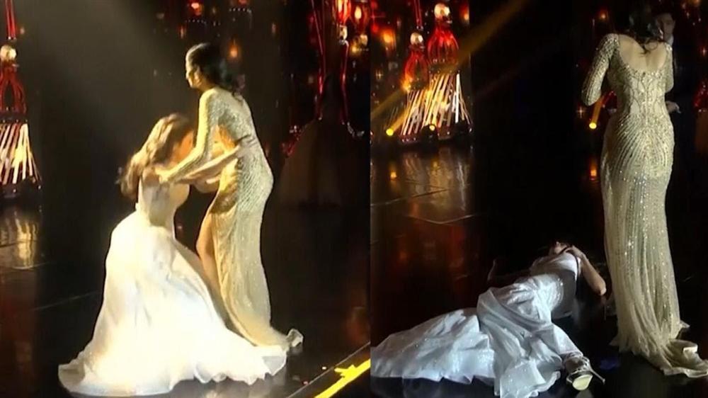 HẾT HỒN: Lăn đùng bất tỉnh trên sân khấu, Hoa hậu Hòa bình 2018 được trao giải Đăng quang ấn tượng-5