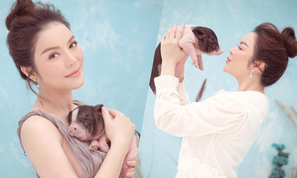 Trào lưu chụp hình cùng lợn: Chi Pu, Ngân 98 phản cảm bao nhiêu thì Lý Nhã Kỳ, Hoàng Yến Chibi lại mộng mơ bấy nhiêu-6