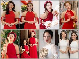 So kè nhan sắc đầu năm khi 9 mỹ nhân đụng hàng một mẫu áo dài: hoa hậu, ca sĩ hay diễn viên xinh hơn?