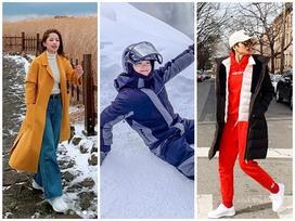 Sao Việt xuất ngoại đầu năm: H'Hen Niê 'lên đồ' tomboy cực chất - Chi Pu, Minh Hằng vùng vẫy giữa tuyết trắng