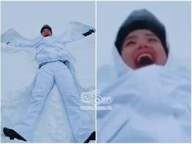 Minh Hằng hào hứng làm 'bươm bướm quẫy tuyết' nhưng ai nấy chỉ quan tâm đến vòng tròn đỏ rực kỳ cục quanh miệng cô