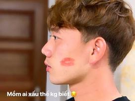 2 ngày nữa mới đến Valentine mà Minh Vương đã khoe dấu môi bạn gái trên má với cả thế giới