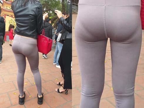 Mặc quần bó sát hằn rõ nội y khi đi lễ chùa, cô gái khiến ai cũng ngán ngẩm: 'Đúng là thời trang phang địa điểm'